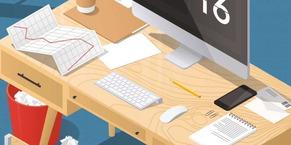 sometric vector office concept illustration. Workplace interior set. The edges are under mask and can be edited.